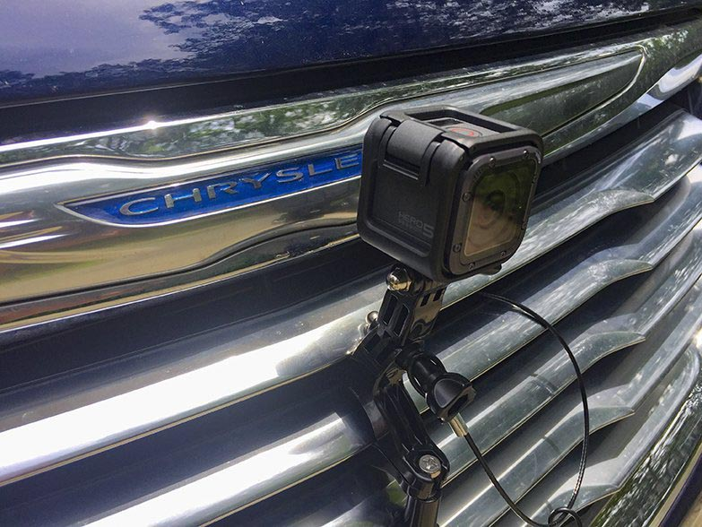Photo of Go Pro on Chrysler grill