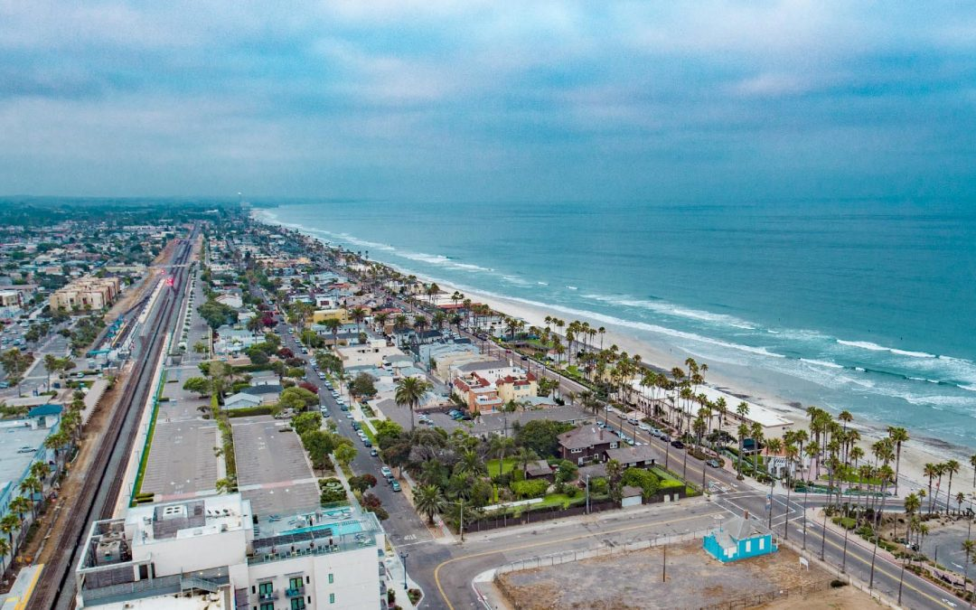 Drone Photograph of Oceanside California with Top Gun home in the foreground