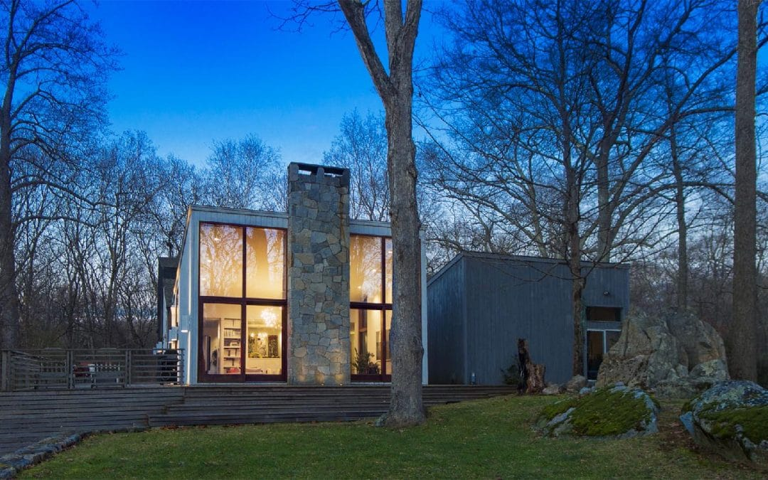 Photo of Modern Home at sunset in Wilton CT