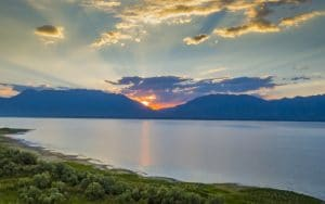 Photograph of Sunrise over Utah Lake Taken with a drone