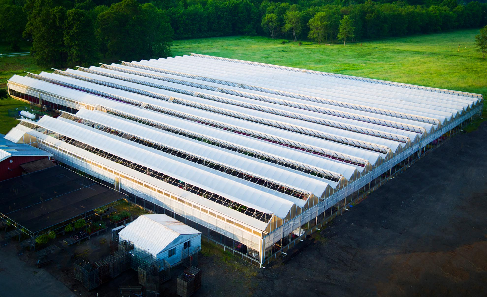 Drone photograph of green house in Boonton Township NJ