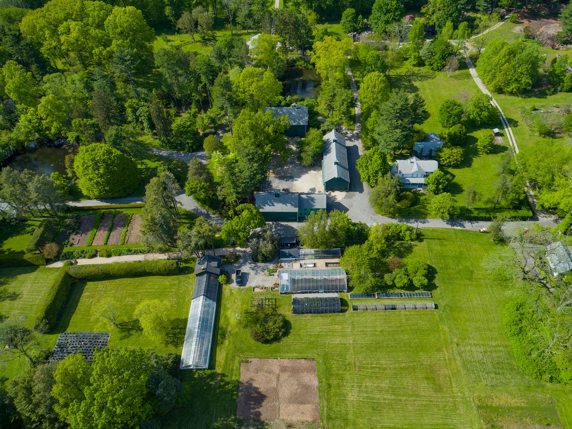 Drone photograph of Farm in Old Westbury NY