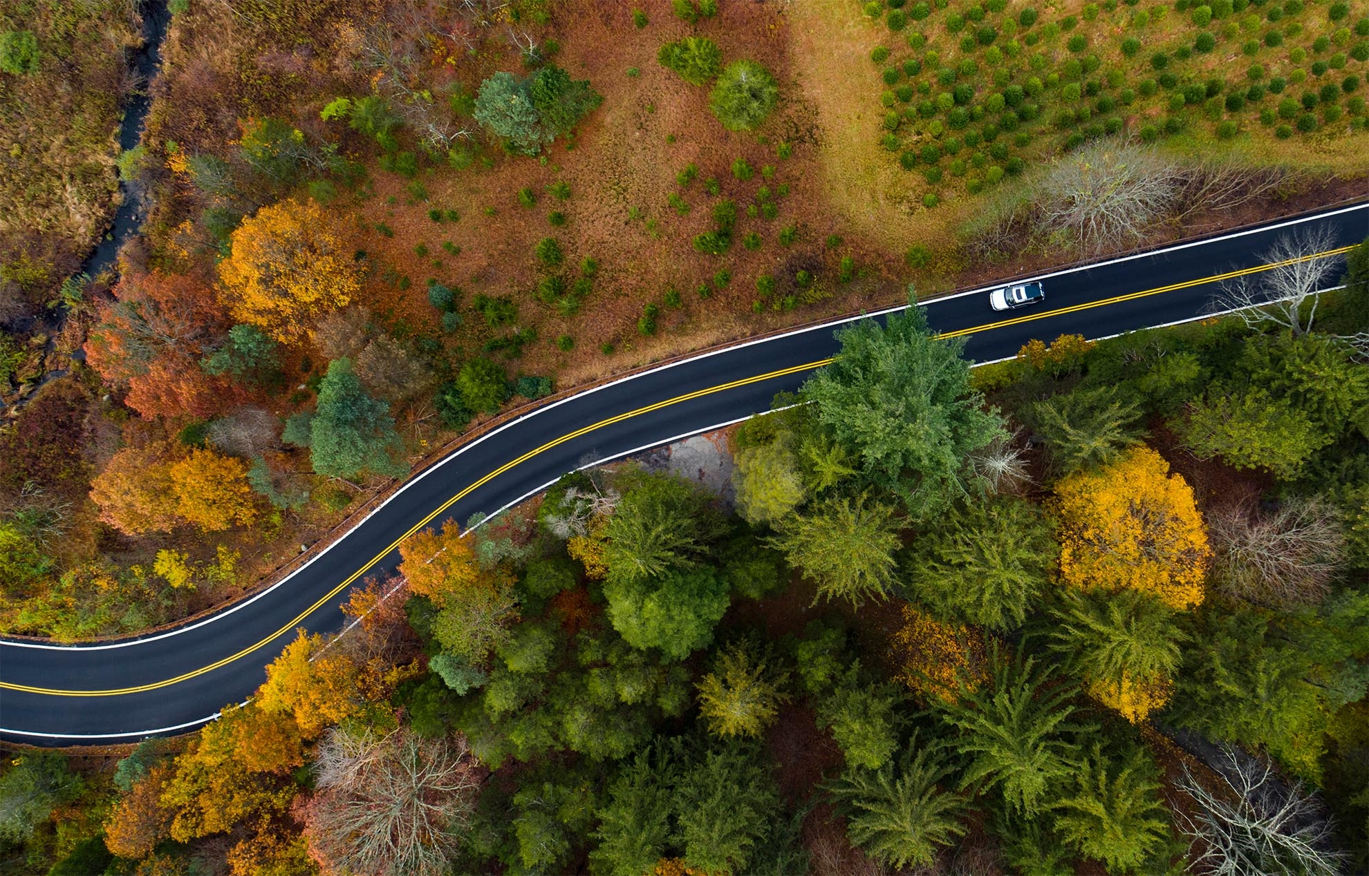 Photograph of a birds eye view of a car on an Autumn road in NJ taken with a drone