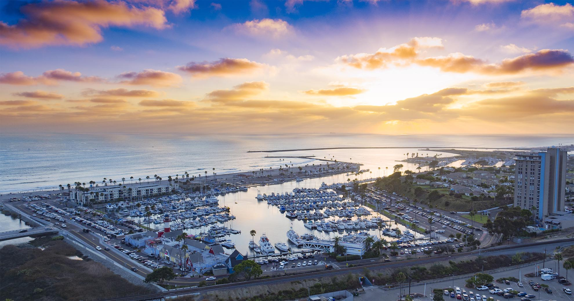 Drone photograph of Oceanside Harbor at sunset