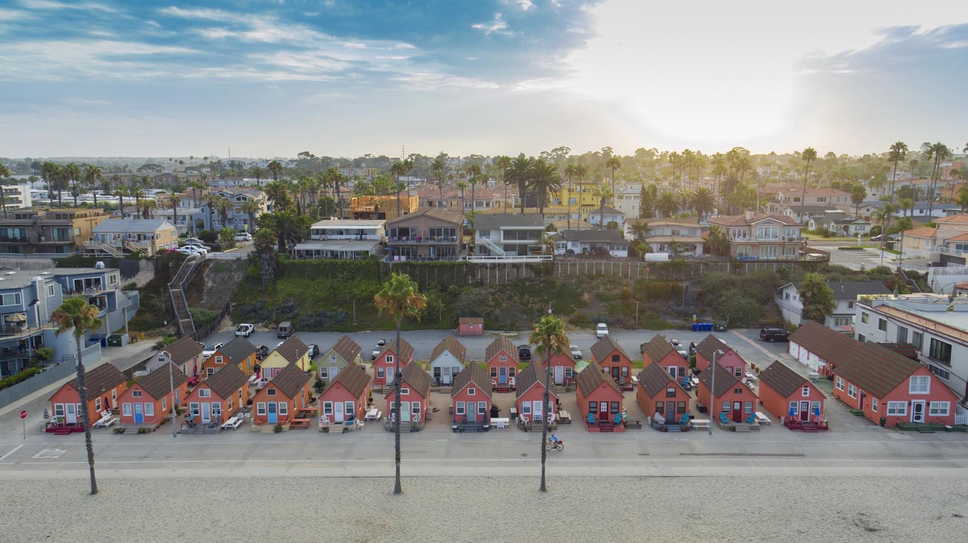 Drone photograph of Roberts Cottages Oceanside California