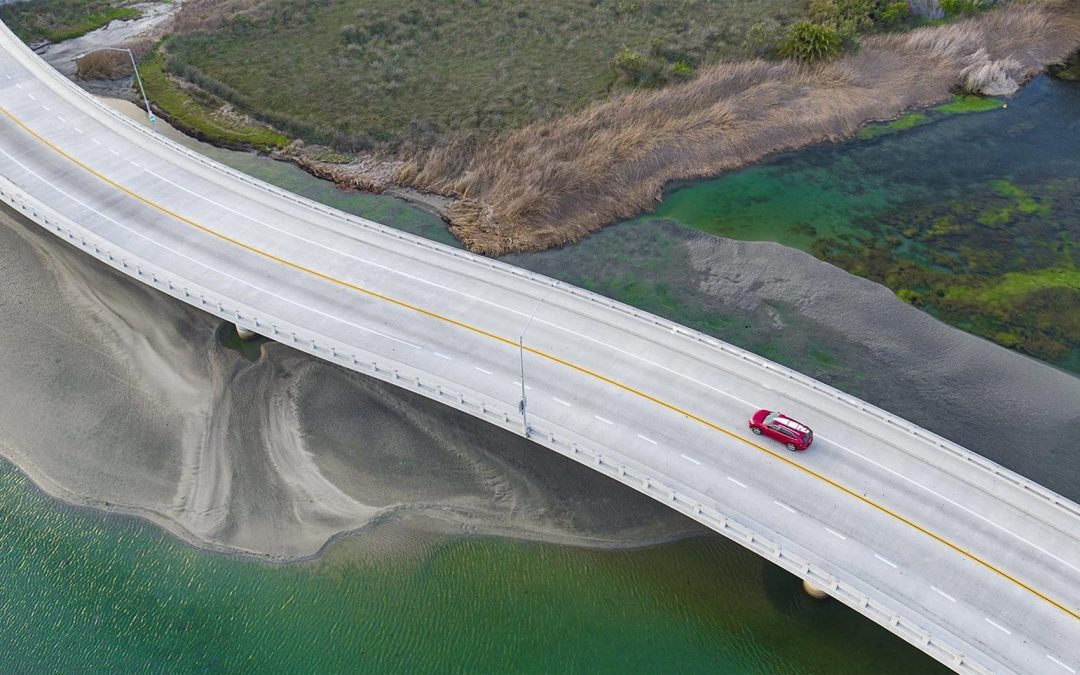 Drone Photograph of Coastal Bridge
