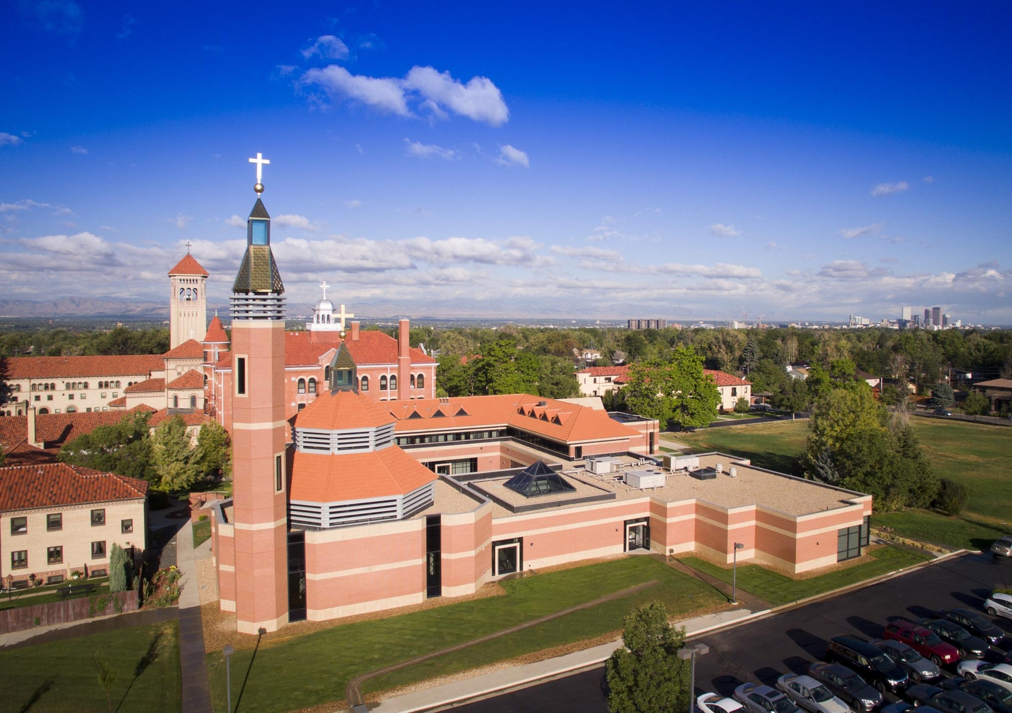 Drone photograph of the Redemptoris Mater Seminary Denver Colorado