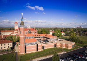 Drone photograph of the Redemptoris Mater Seminary Denver Colorado