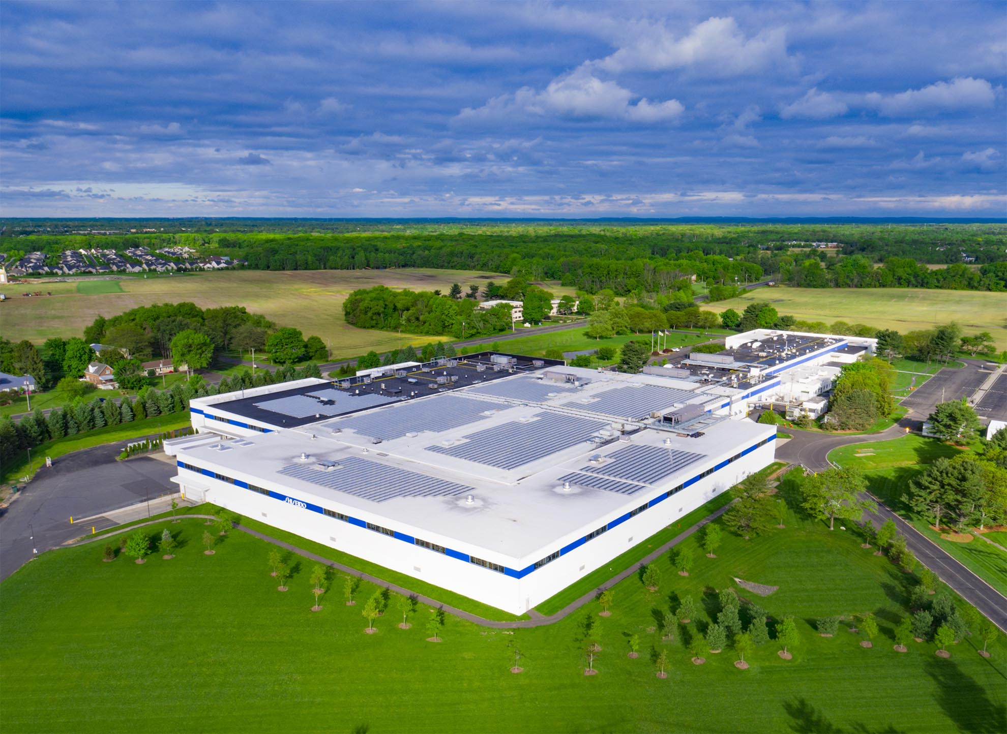 Drone photograph of Shiseido production facility in New Jersey