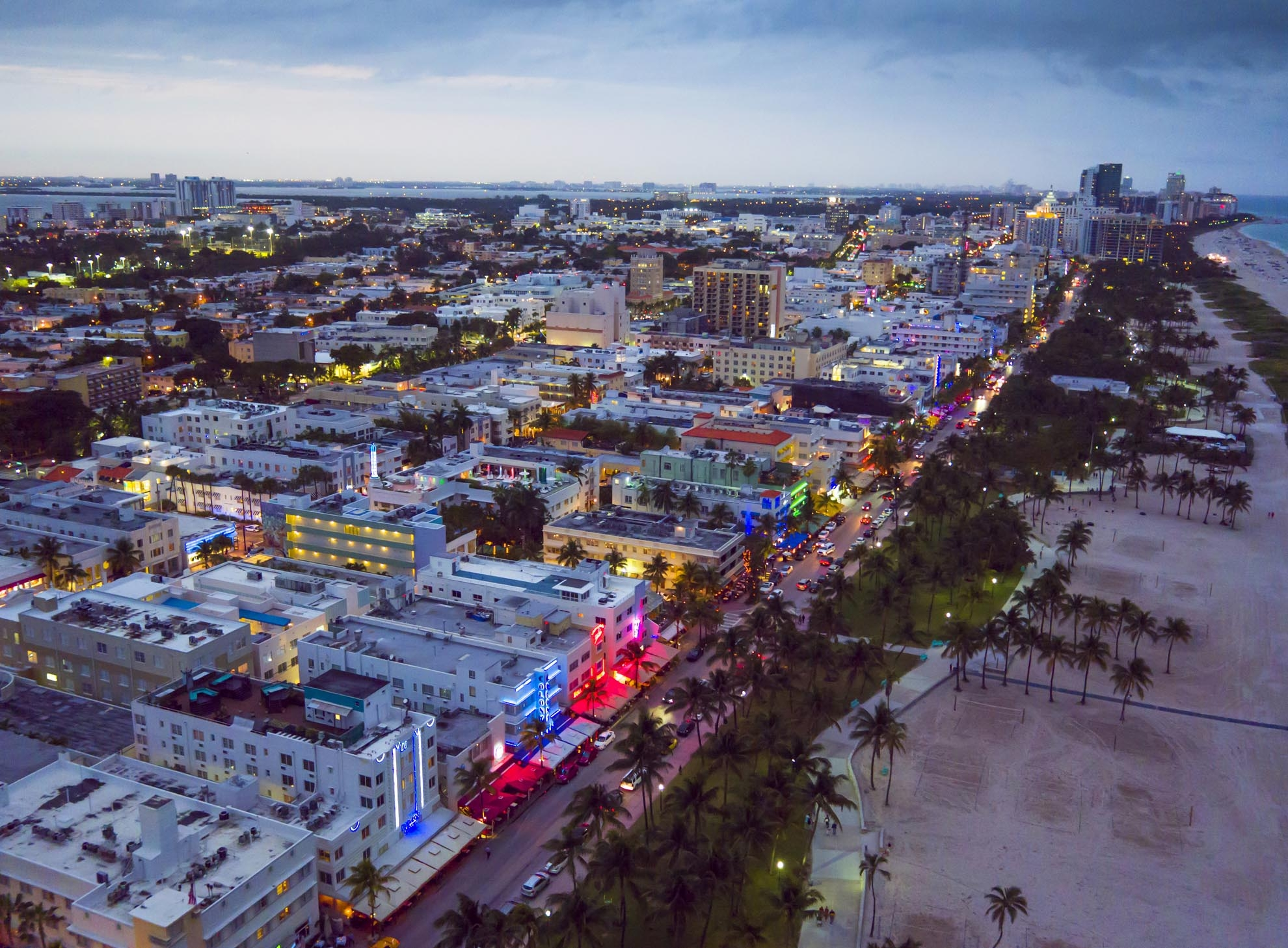 Drone photograph of Miami Beach Art Deco Strip at dusk