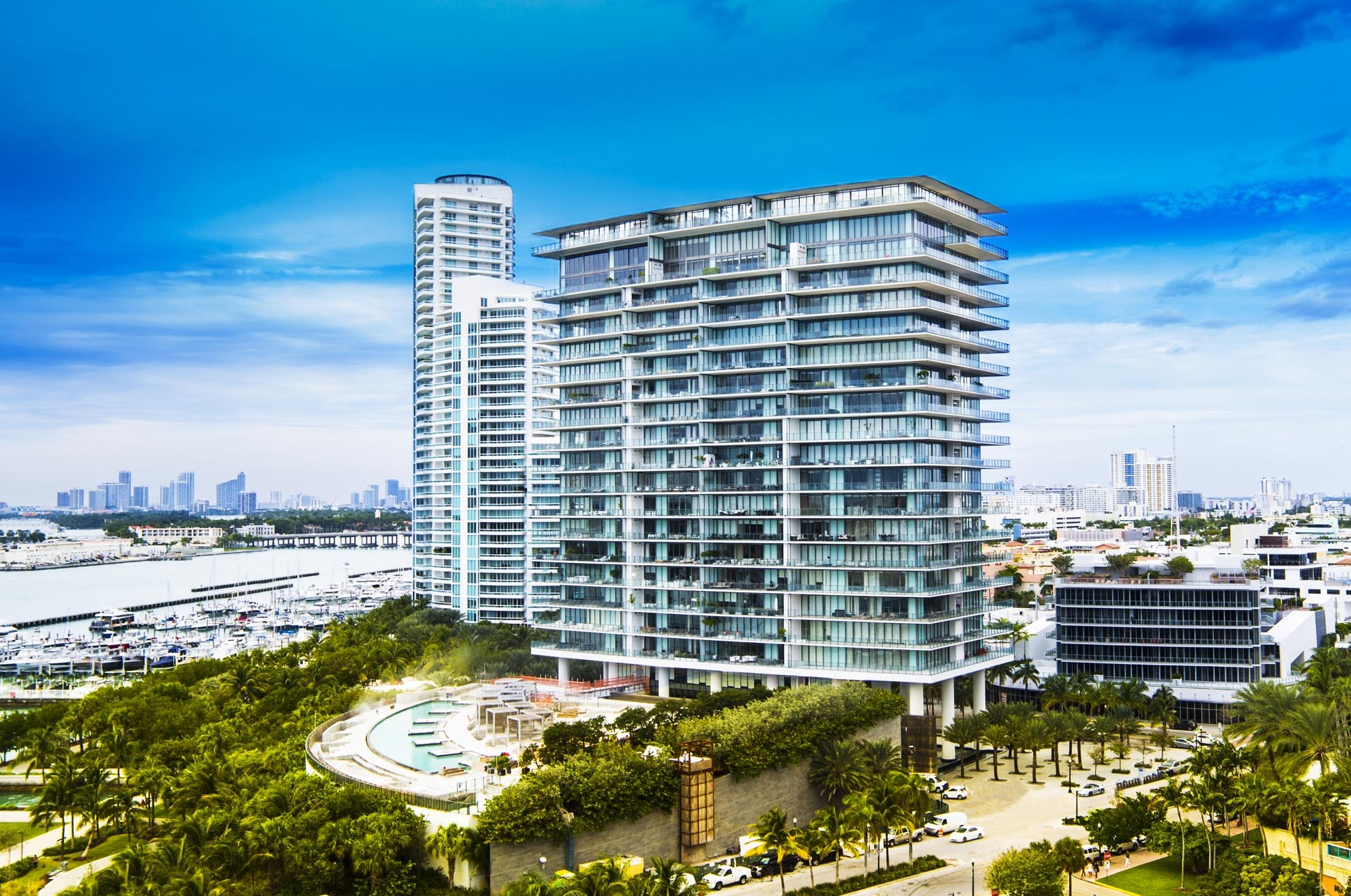 Drone photograph of Apogee Condominiums Miami Beach FL