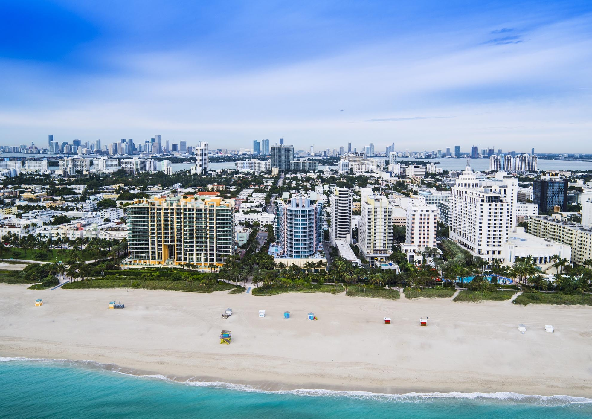 Drone photograph of Miami Beach Hotels