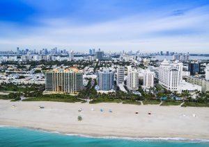 Drone photograph of Miami Beach Hotels