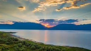 Drone Photograph of sunrise over Utah Lake, Utah