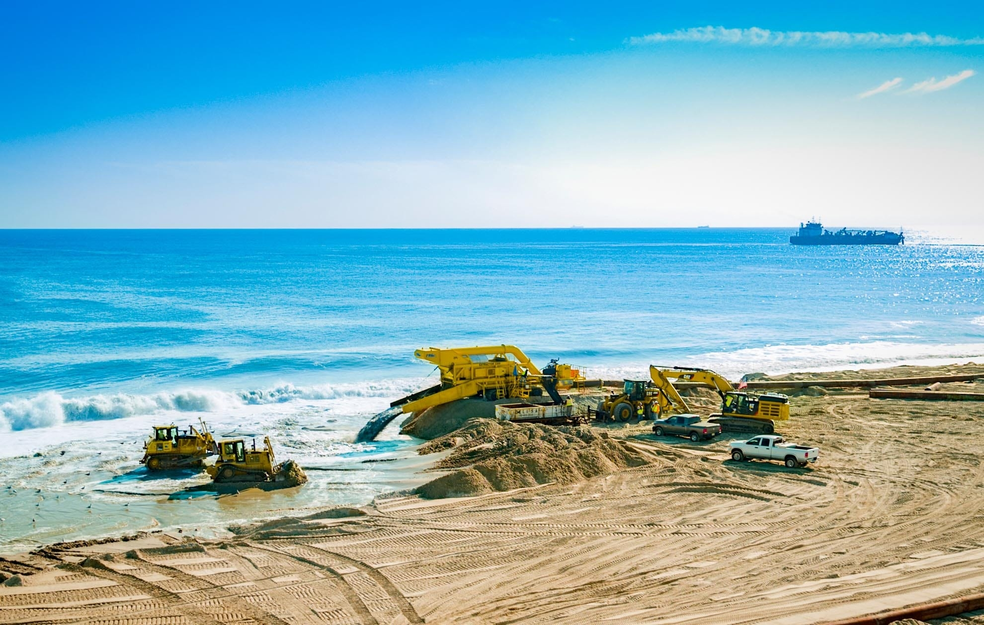 Drone Photograph of Excavating equipment Rebuilding Beach on the New Jersey Shore