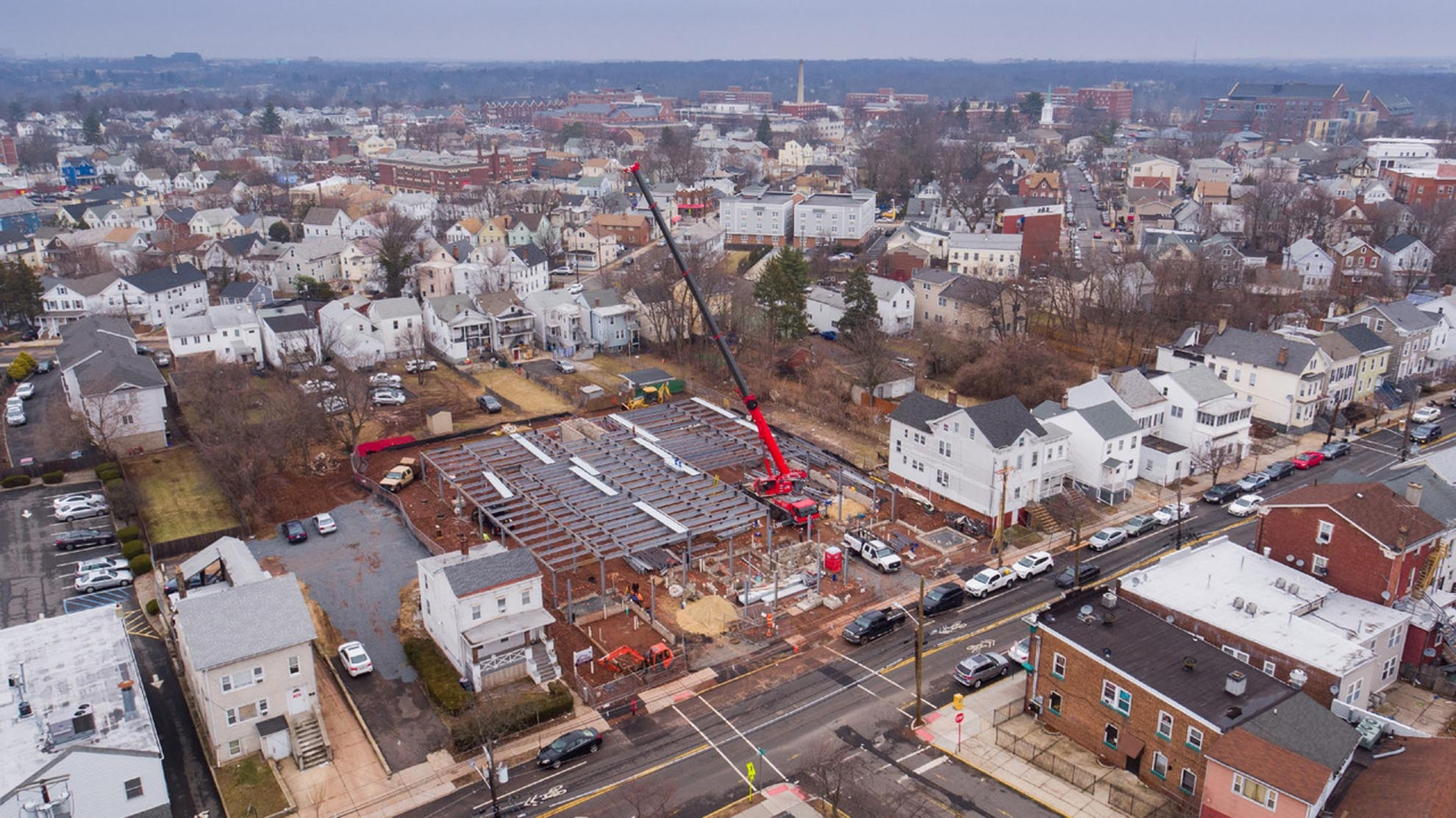 Drone Photograph of construction site with crane in New Brunswick New Jersey