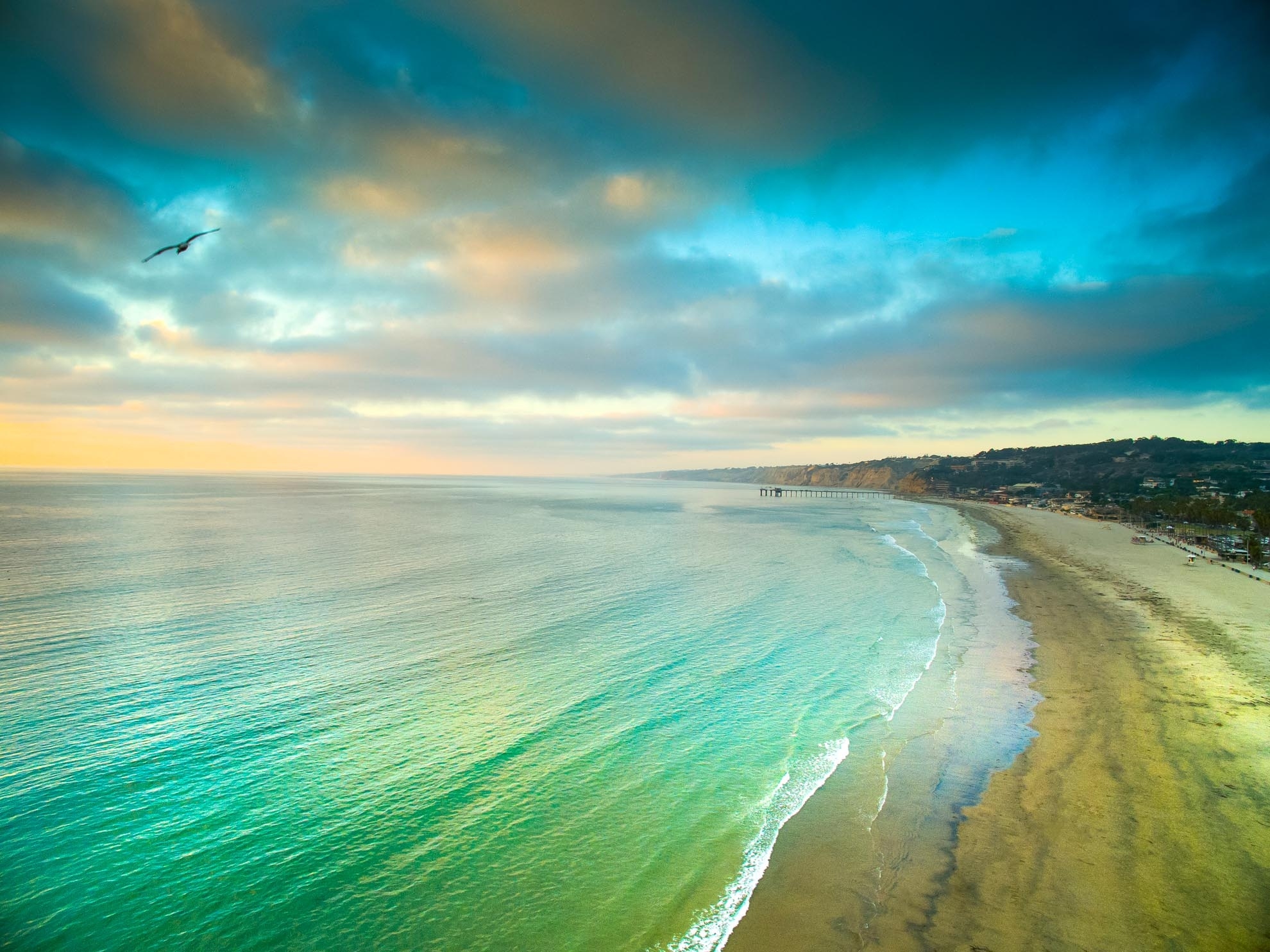 Drone Photograph of La Jolla Beach at sunset