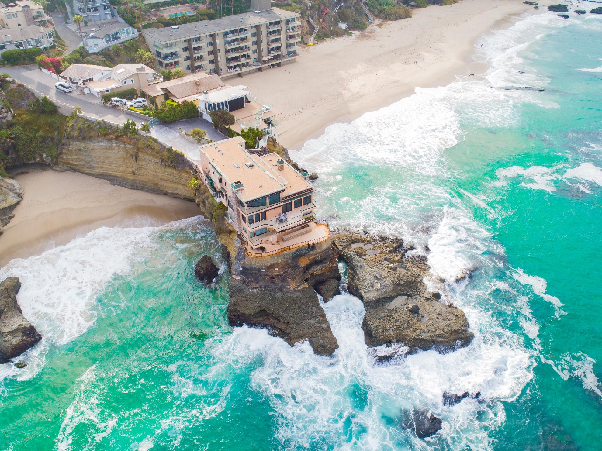 Drone Photograph of Ocean front home in Laguna Beach California