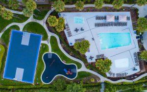 Drone Photograph of Birds eye view of World mark recreational facilities Oceanside CA
