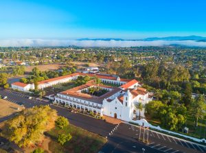 Drone Photograph of St Luis Rey Mission Oceanside California
