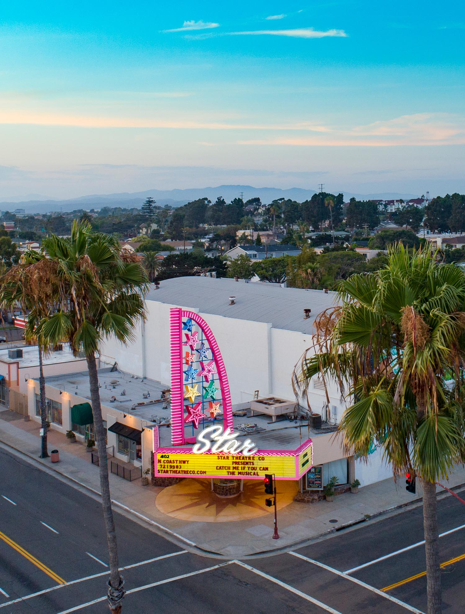 Drone Photograph of Star Theatre Oceanside CA