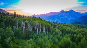 Drone photograph of sunset over Mt Timpanogos Utah