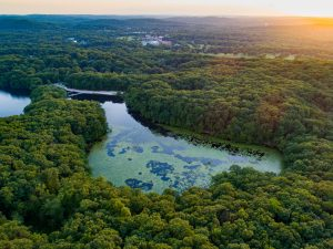 Photograph of Birchwood Lake at sunset taken with a drone