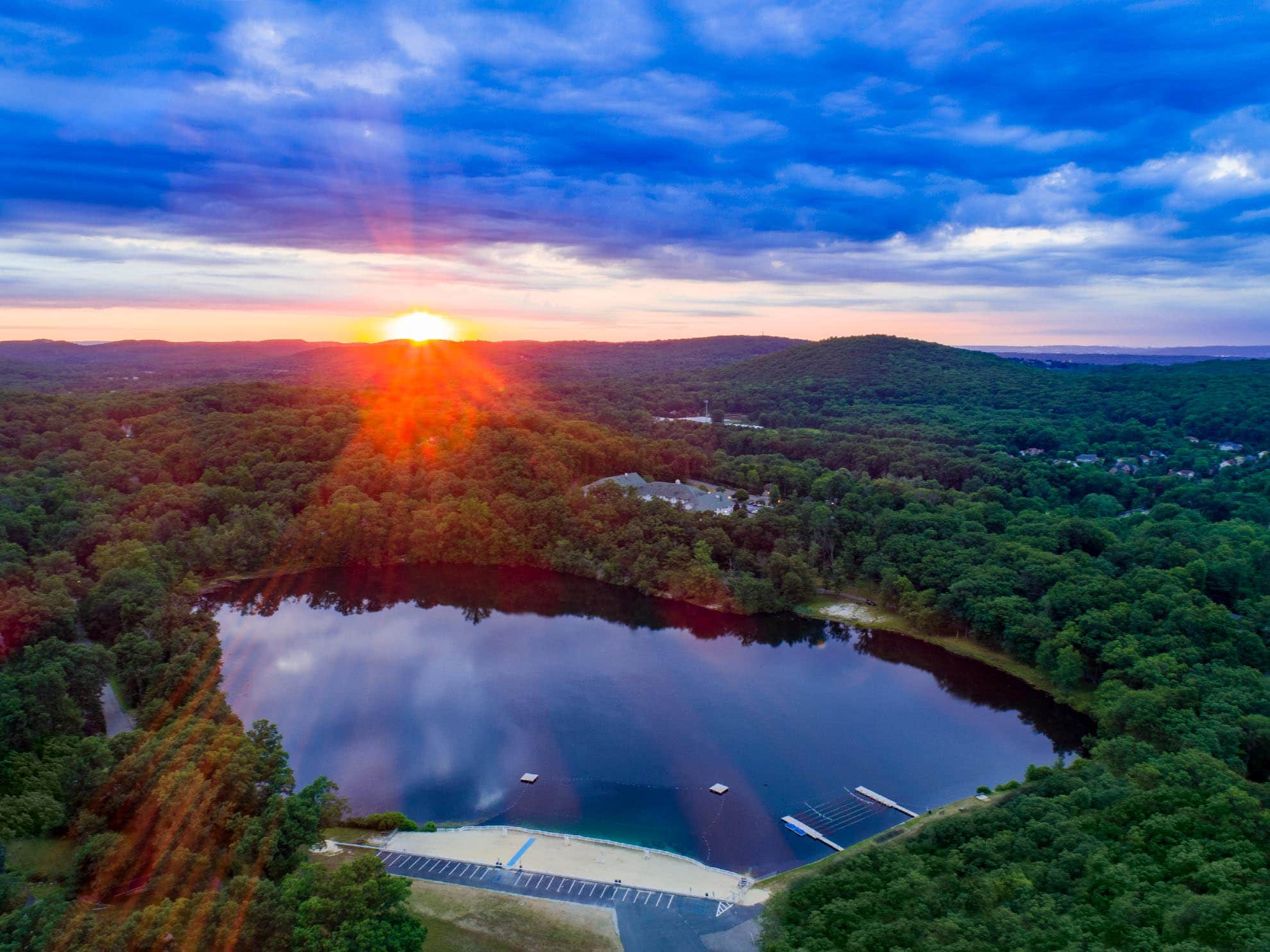 Photograph of sunrise over Cooks Pond Denville NJ taken with a drone