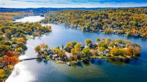 Photograph of Indian Lake Denville NJ in Autumn taken with a drone