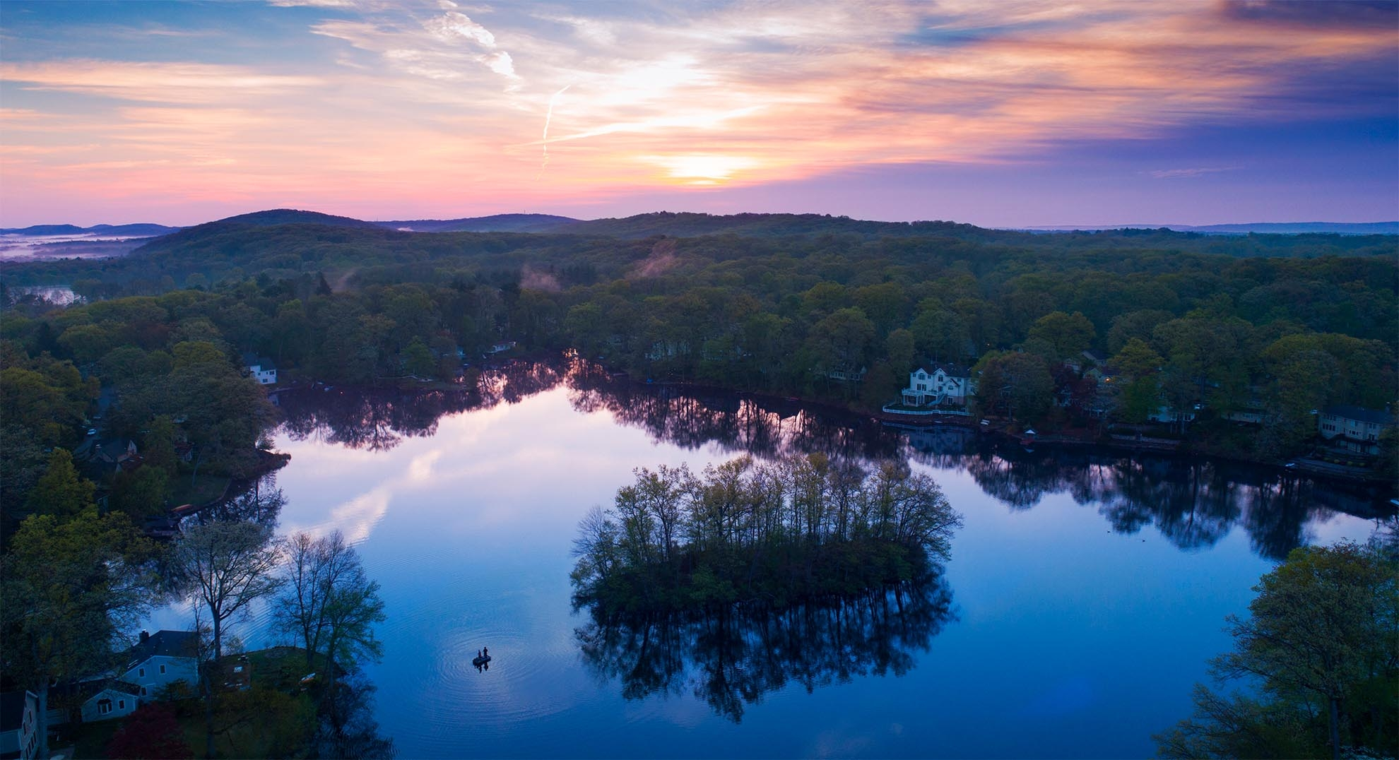 Photograph of sunrise over Lake Arrowhead NJ taken with a drone