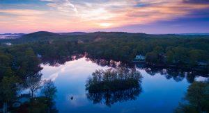 Photograph of sunrise over Lake Arrowhead NJ taken with a drone