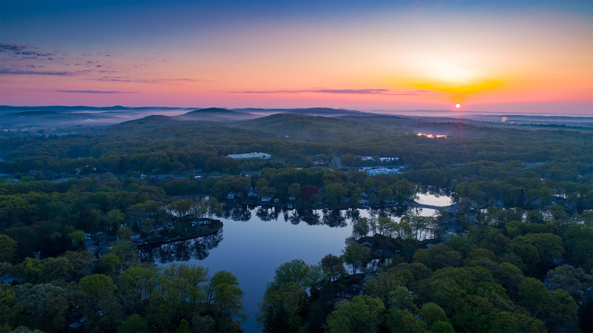 Photograph of sunrise over Rainbow Lakes NJ taken with a drone
