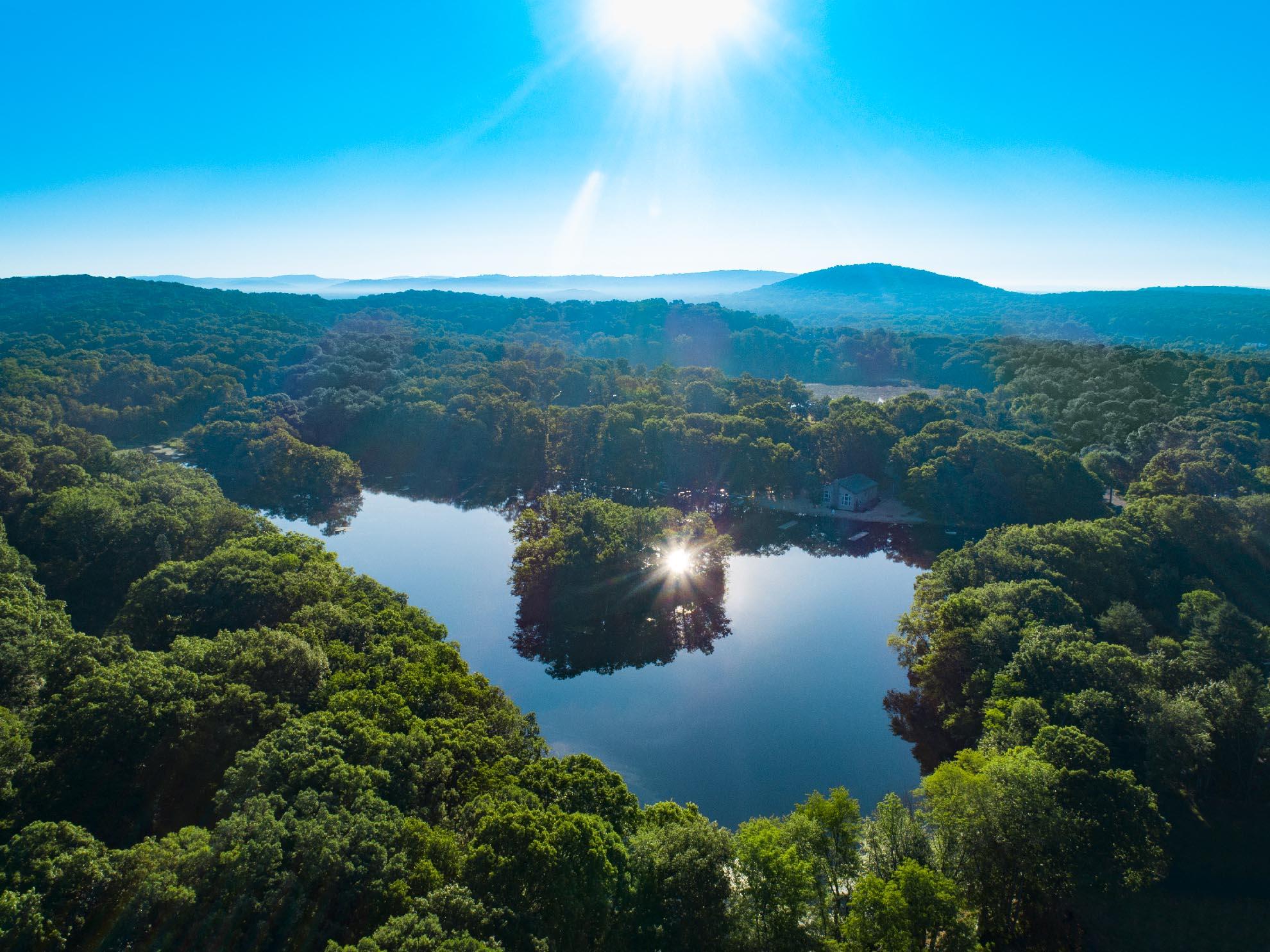Drone Photograph of Sunrise over Rock Ridge Lake New Jersey