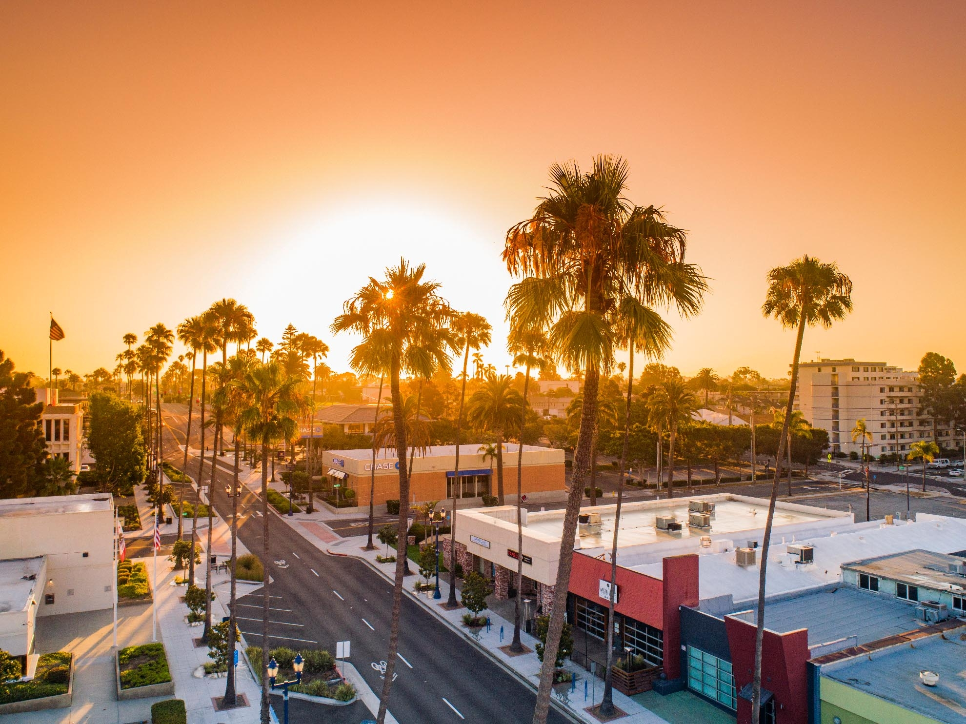 Drone Photograph of Sunrise in center of Oceanside California