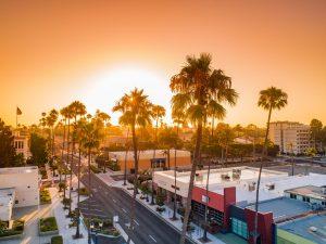 Drone Photograph of Sunrise in center of Oceanside California
