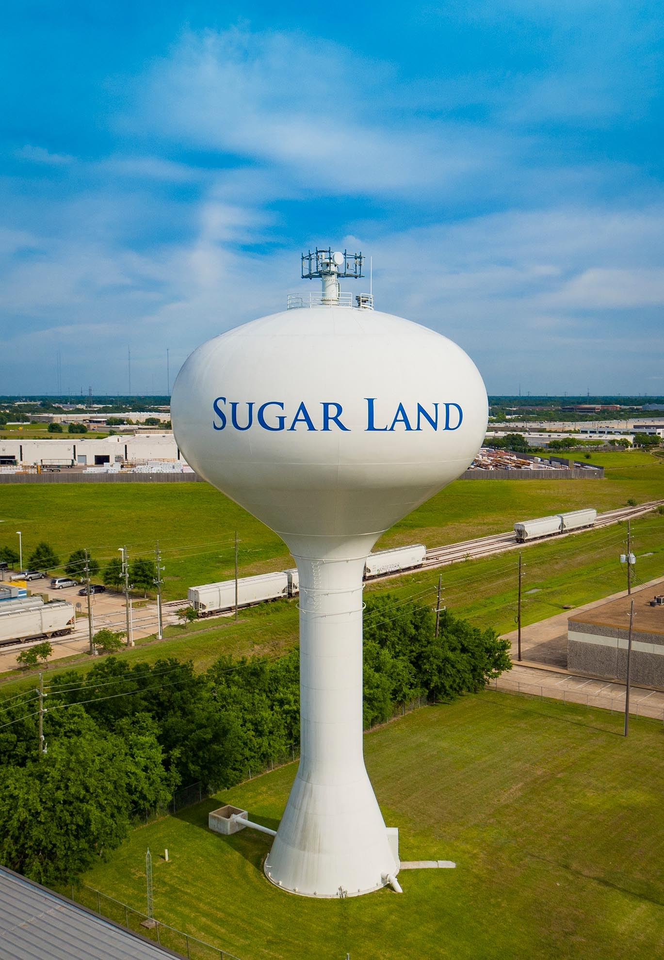 Drone Photograph of Sugar Land Texas elevated water tower