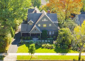 Drone Photograph of Shingle Style Victorian Home in Montclair NJ