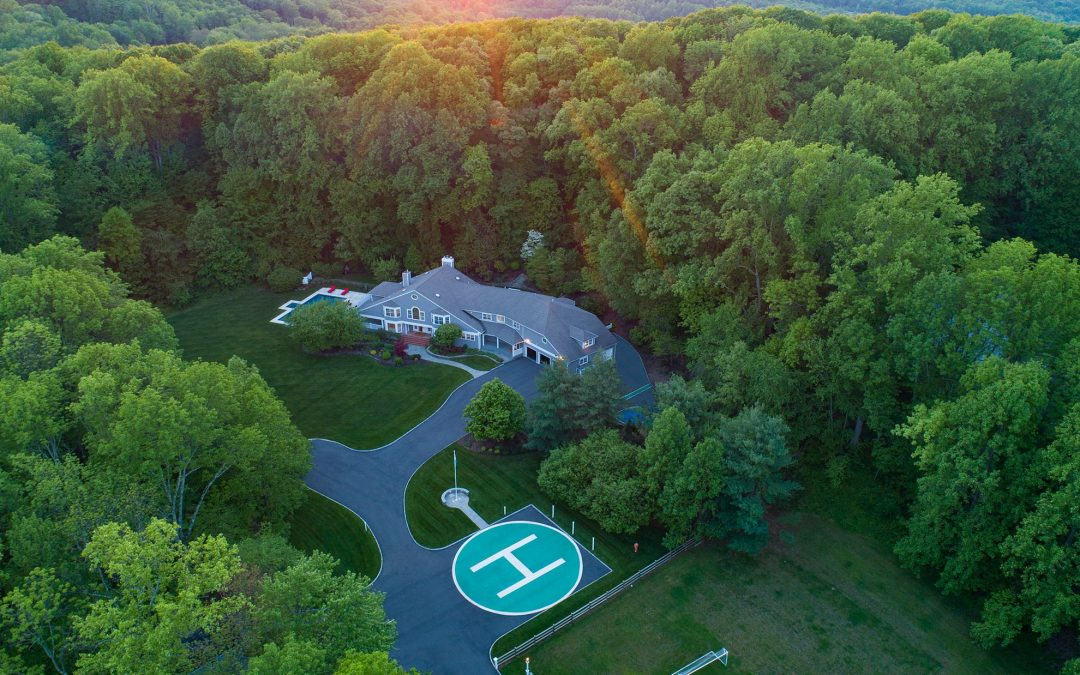 Drone photograph of Home in Randolph NJ with a Helipad