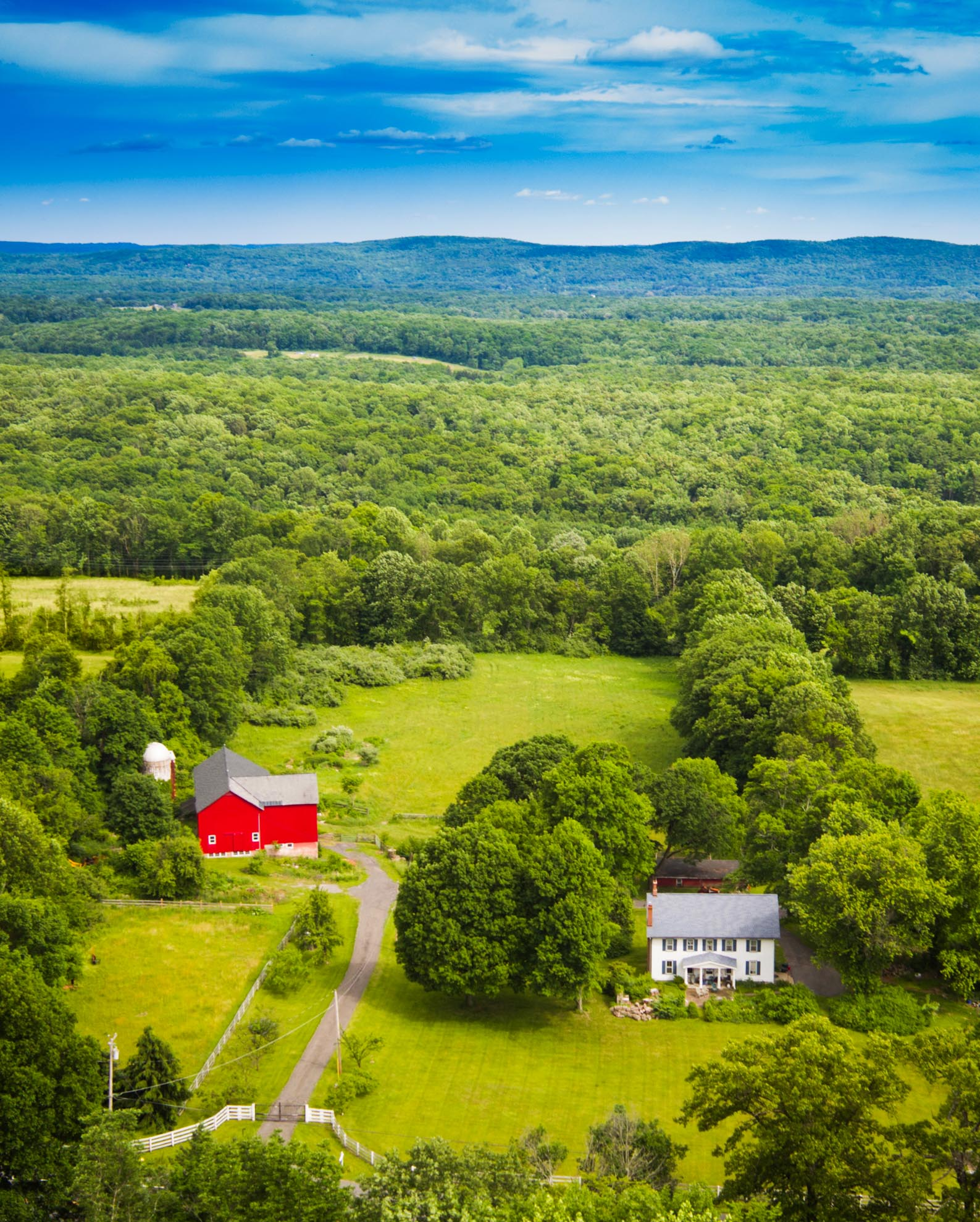 Drone Photograph of Farm Home and Barn in New Jersey