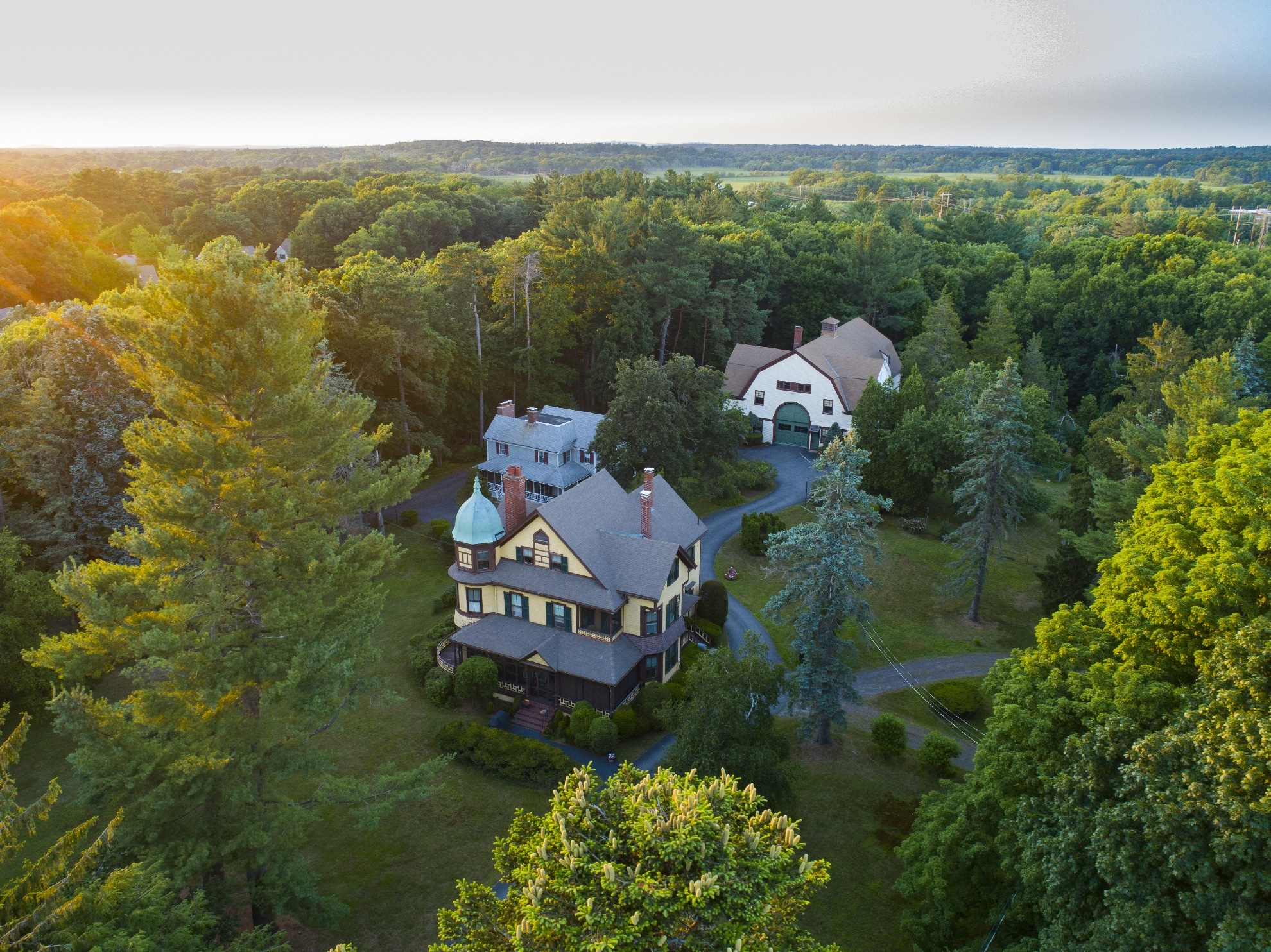 Drone Photograph of Home at sunset in Wakefield Massachusetts