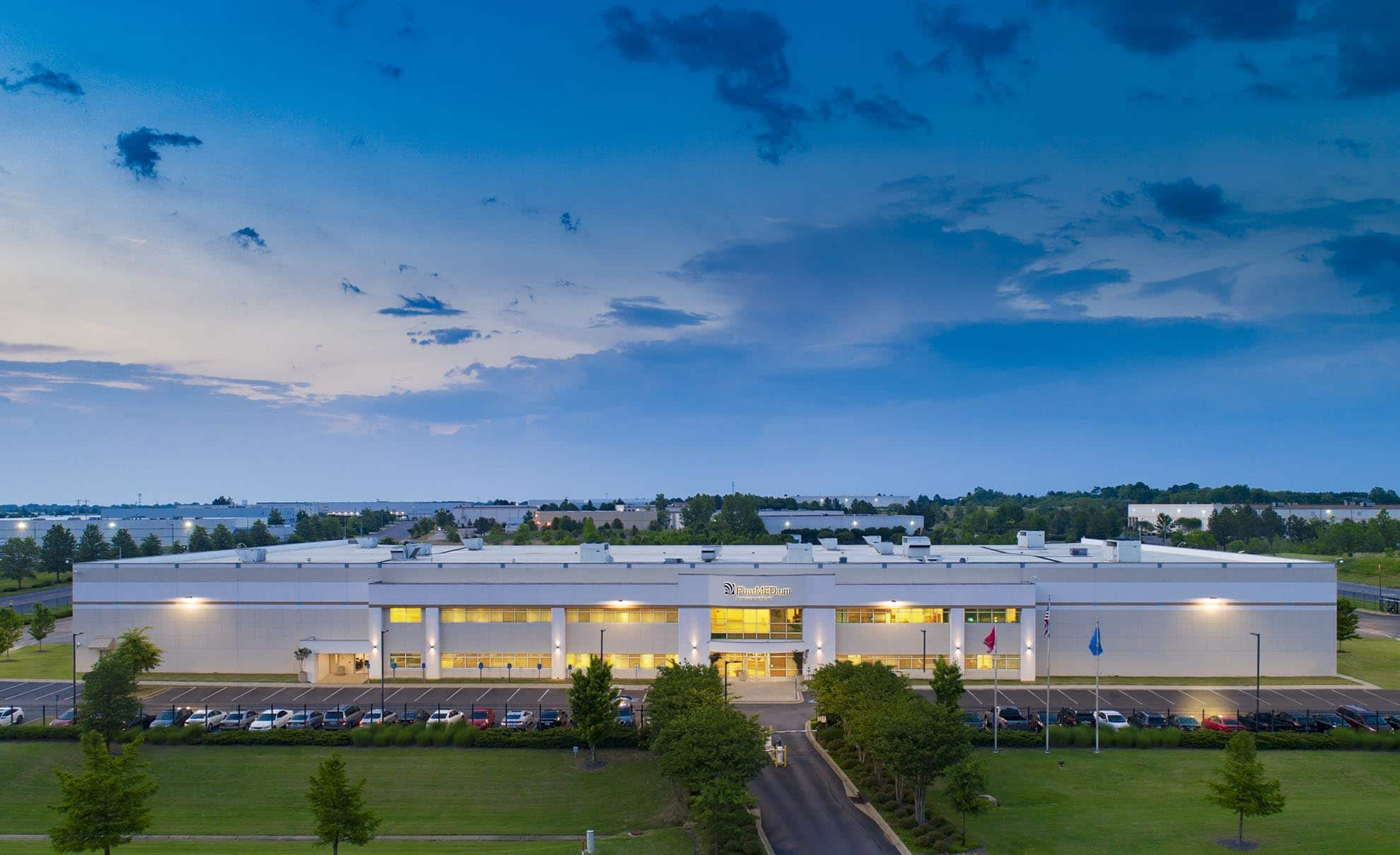 Drone Photograph taken of Commercial Building in Memphis Tennessee