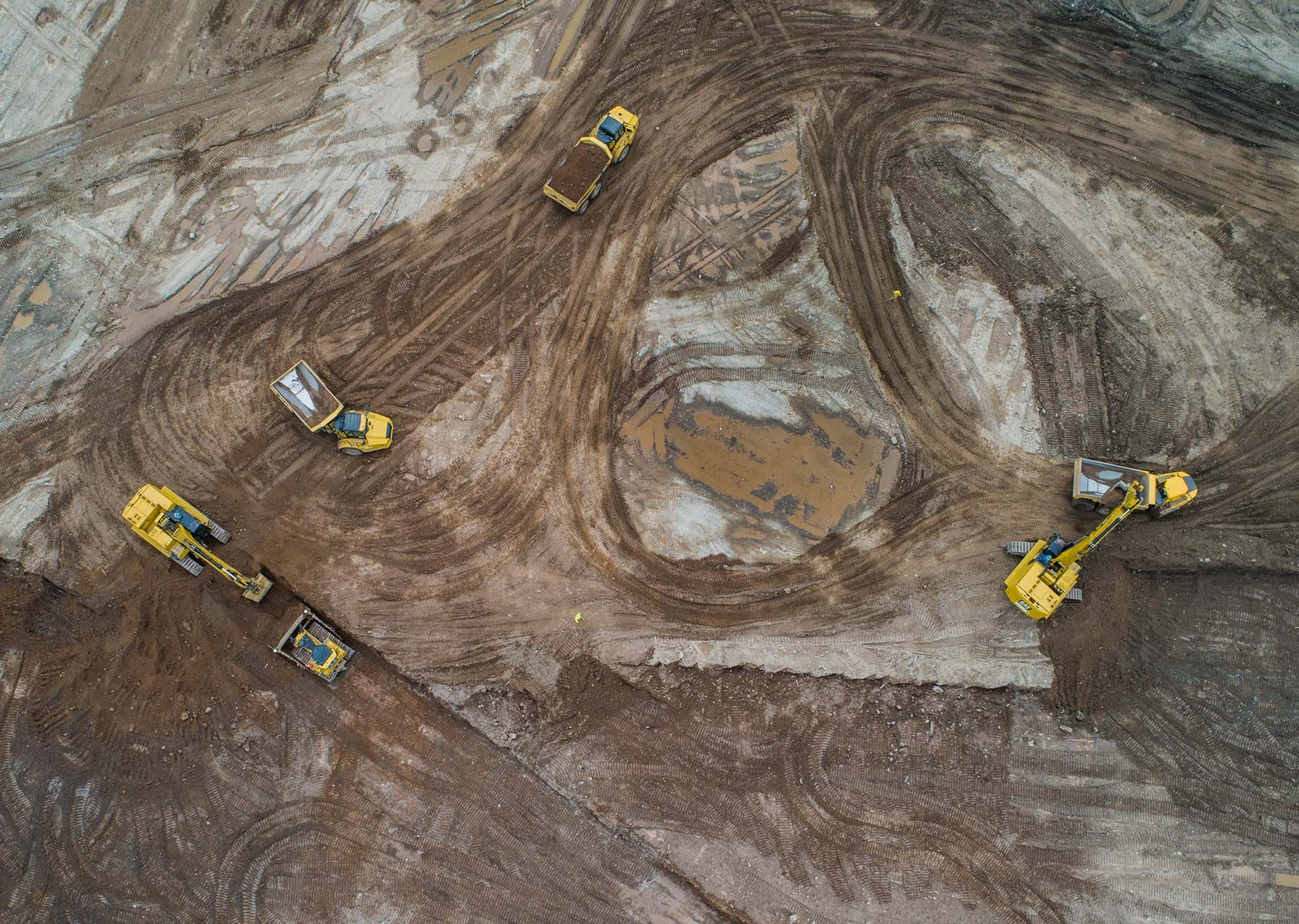 Drone Photograph of Nadir view of Excavating equipment Tremley Point Linden New Jersey