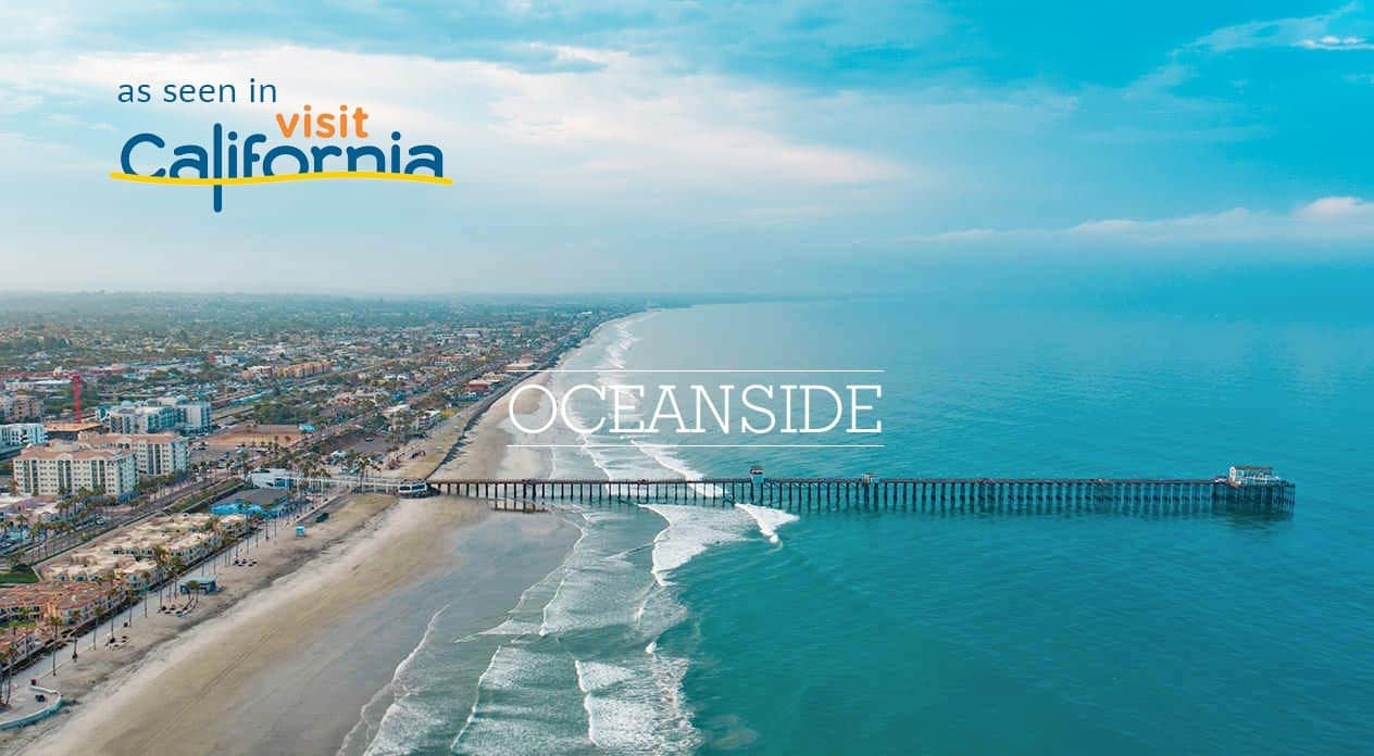 Photograph of Oceanside Pier Oceanside California taken from a drone