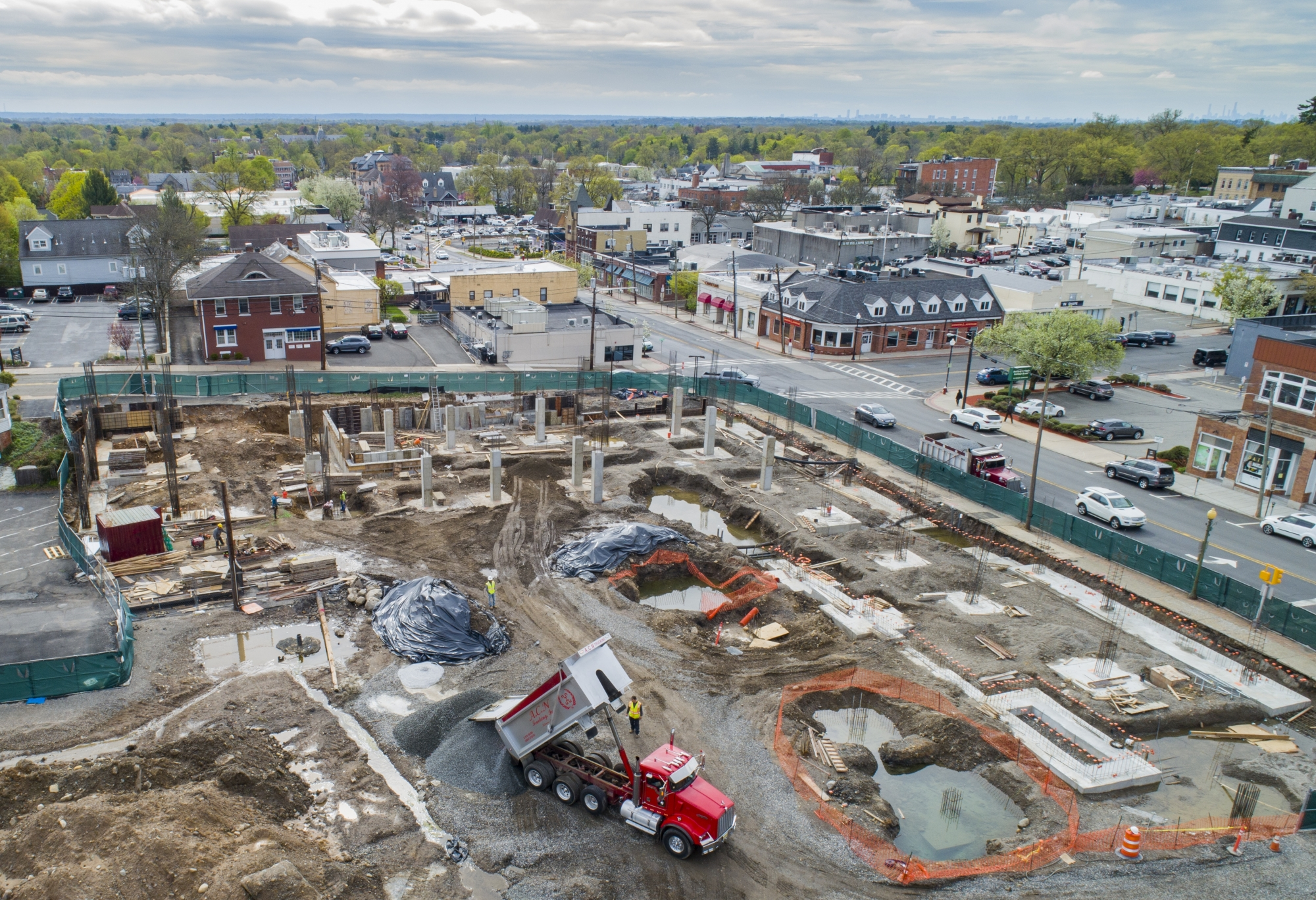 Drone Photograph of Construction Progress of Ridgewood NJ Condominium
