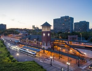 Drone Photograph taken at sunset of Broad St Light Rail Station in Newark New Jersey