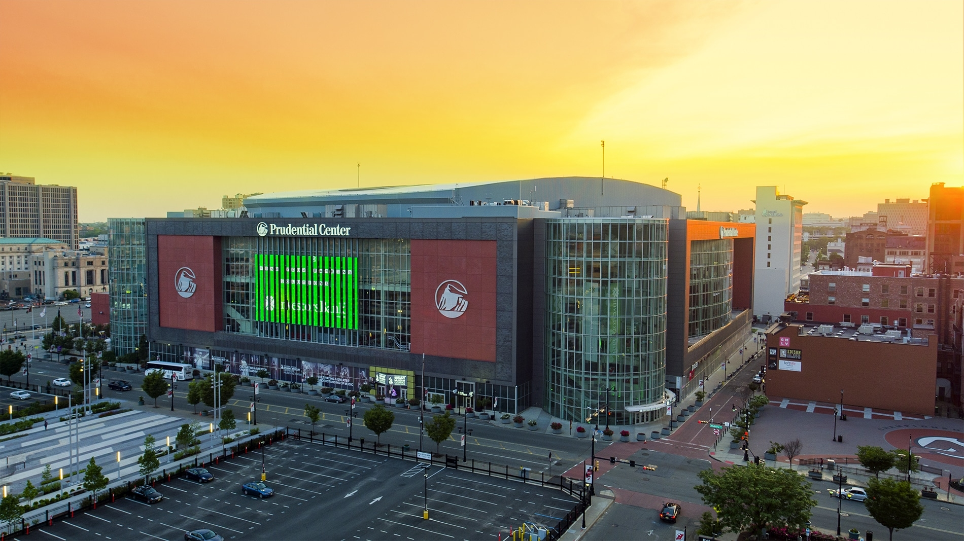 Drone Photograph taken at sunset of the Prudential Center in Newark New Jersey