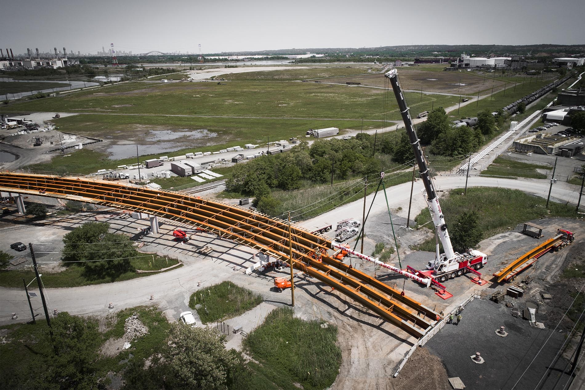 Drone Photograph of Construction Progress in LindenNJ of Grasselli Bridge