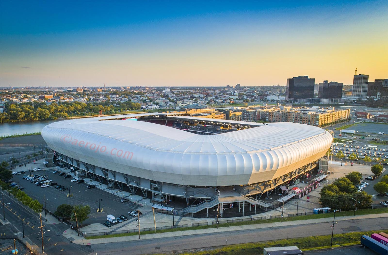 Drone Photograph taken at sunset of Red Bull Arena Harrison New Jersey