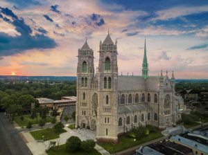 Drone Photograph taken at sunset of Sacred Heart Bascilica Newark New Jersey