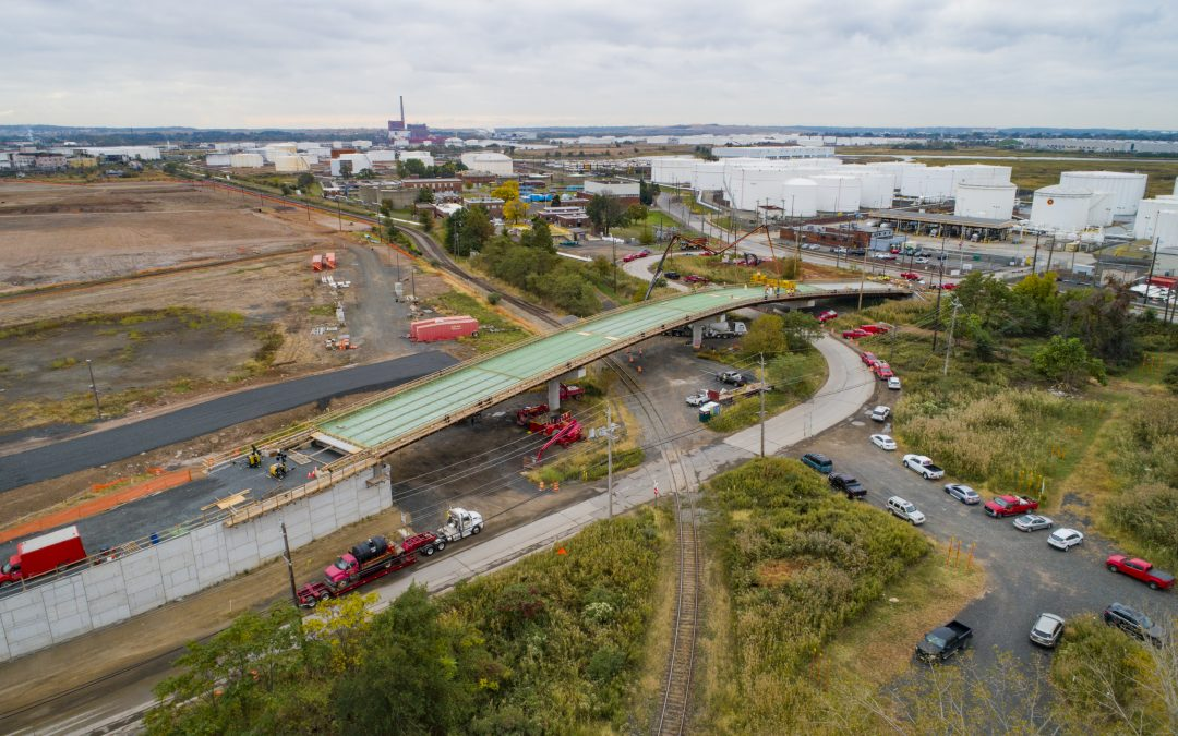 Drone Photograph of progression of the Grasselli Bridge at Tremley Point Linden NJ